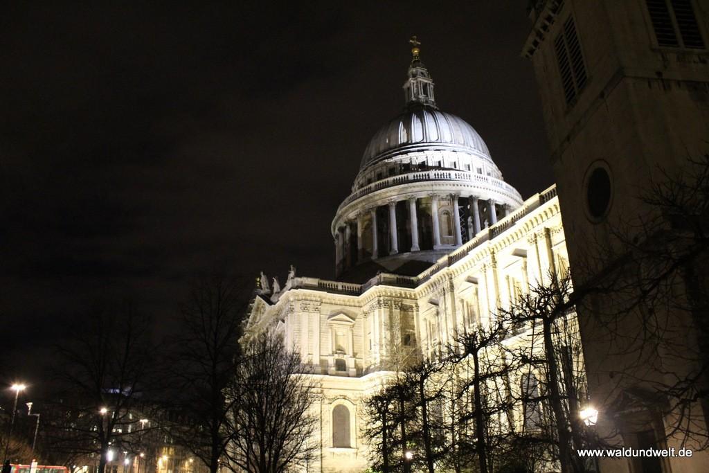 Die Kuppel der St. Paul's Cathedral bei Nacht.